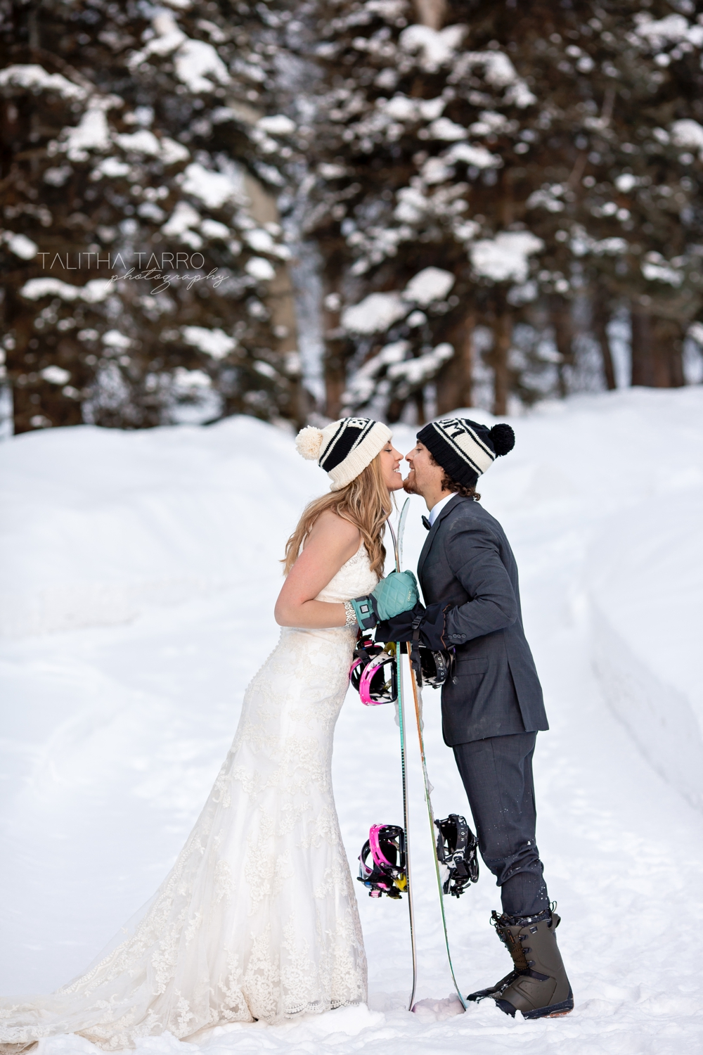 Snowboarding wedding couple